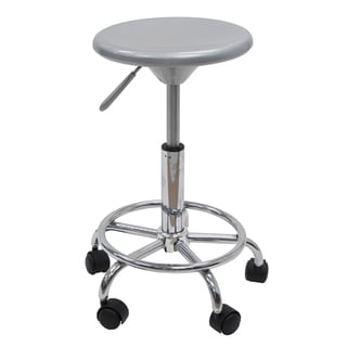 Offex Silver-tone and Chrome Pneumatic Gas-lift Stool With Casters