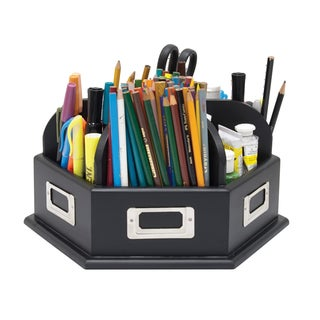 Offex Black Wood Desk Storage Carousel