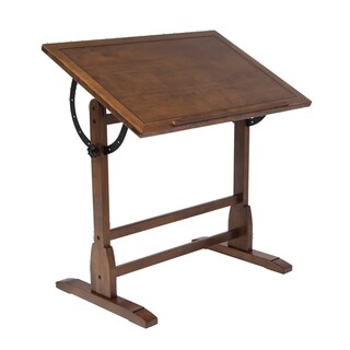 Offex Rustic Oak Wood 36-inch Vintage Drafting Table