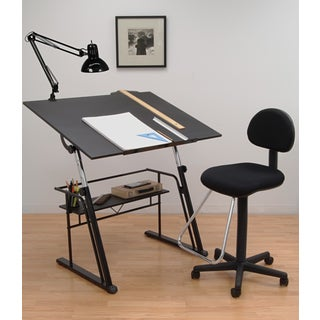 Offex Zenith Black Table, Chair and Lamp Drafting Set