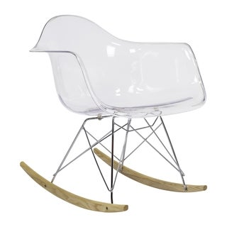 Midcentury Modern Clear Rocking Chair with Arms