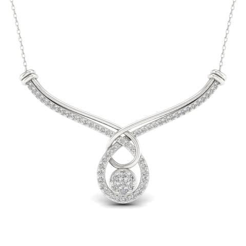 1ct TDW Diamond Cluster Necklace in Sterling Silver