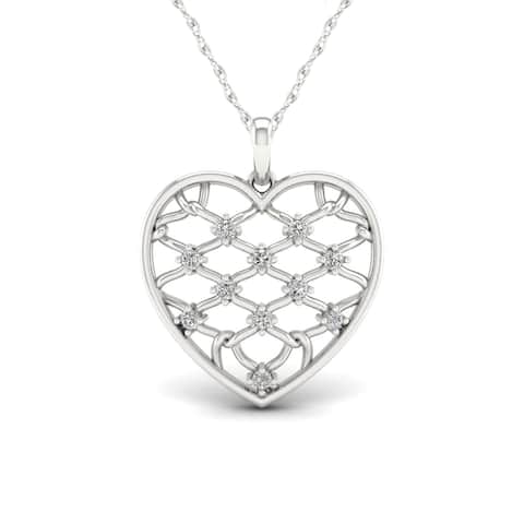 1/5ct TDW Diamond Heart Necklace in Sterling Silver - White