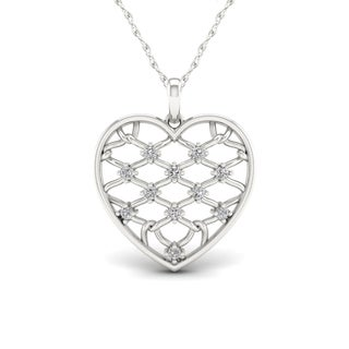 1/5ct TDW Diamond Heart Necklace in Sterling Silver