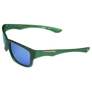 Timberland Fashion Mens Black/Dark Green Mirrored Polarized Grey Lens Sunglasses