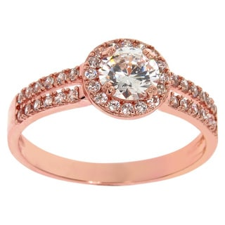 Eternally Haute 14k Rose Goldplated Pave Double-row Halo Ring