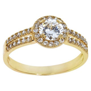 Eternally Haute 14k Goldplated Cubic Zirconia Pave Double Row Ring