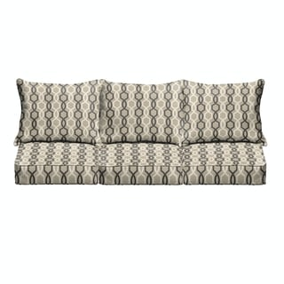 Sloane Black and Tan Indoor/ Outdoor Corded Cushion and Pillow Sofa Set