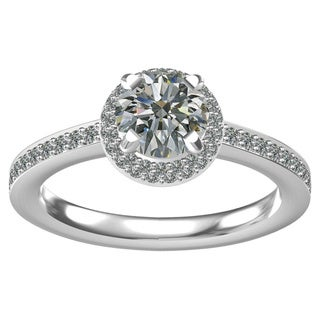 Sterling Silver One (1 ct. TGW) Round Center CZ and Sixty (1/3 ct. TGW) Side CZ Classic Engagement Ring