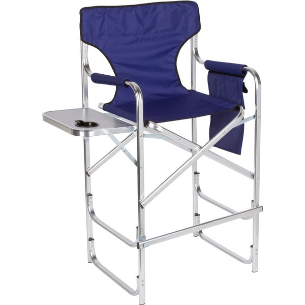 Trademark Innovations Black Aluminum Frame Tall Metal Director's Chair With Side Table