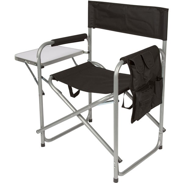 Trademark Innovations Folding Director's Chair with Aluminum Side Table, Storage Bag and Steel Tubing