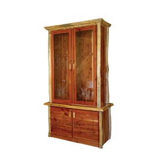 Rustic Red Cedar Log Locking Storage Cabinet w/ Glass Front