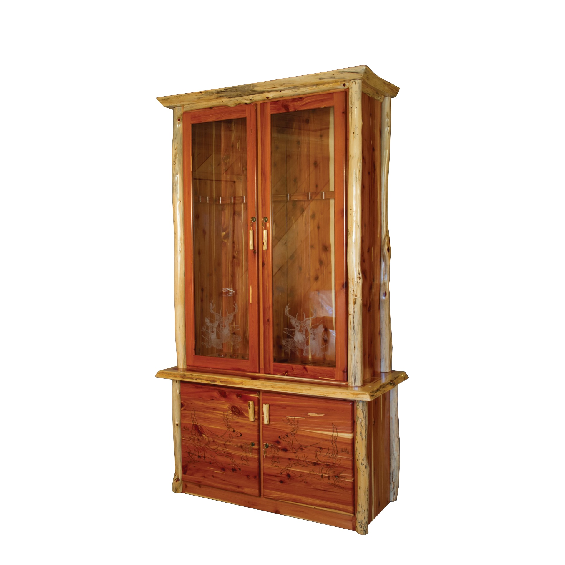 Rustic Red Cedar Log Locking Storage Cabinet W Gl Front Free Shipping Today 14274131