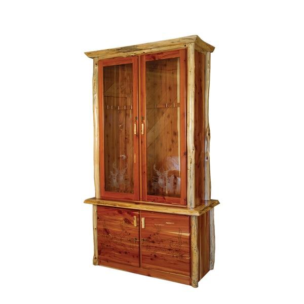 Rustic Red Cedar Log 12-Gun Cabinet - Amish Made