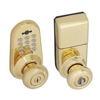 Honeywell Digital Door Lock Entry Knob with Remote in Polished Brass