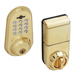 Honeywell Digital Lock and Deadbolt with Remote in Polished Brass
