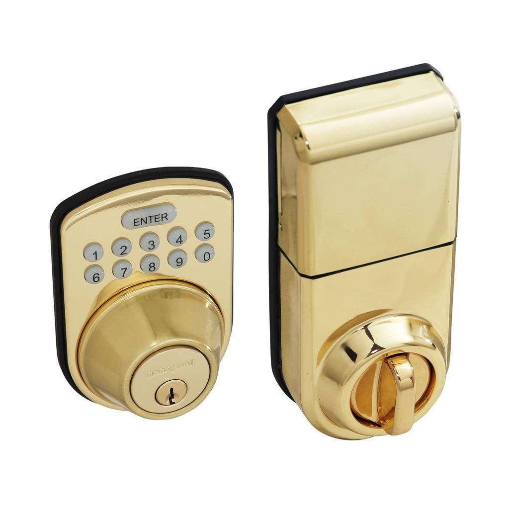 Honeywell Digital Lock and Deadbolt in Polished Brass, Gold