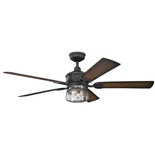 Kichler Lighting Lyndon Patio Collection 60-inch Distressed Black Ceiling Fan w/Light