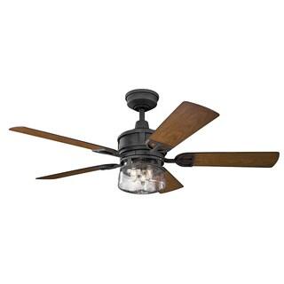 Kichler Lighting Lyndon Patio Collection 52-inch Distressed Black Ceiling Fan w/Light