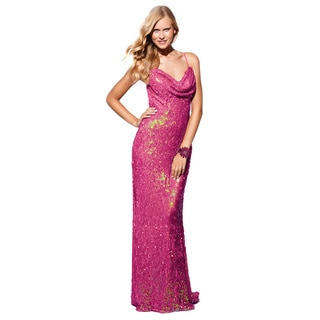 Terani Couture Pink Fully Sequined Long V-Neck Prom Gown