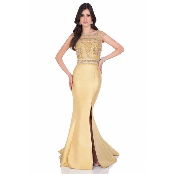 149b3569bbd Shop Terani Couture Cap Sleeve Mikado Mother of the Bride Gown ...