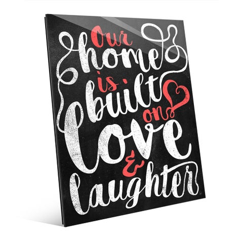 'Our Home is Built on Love' Red Wall Art on Acrylic