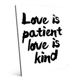 'Love Is Patient, Kind on White' Acrylic Wall Art