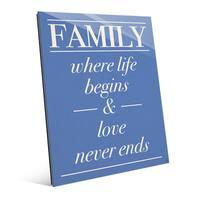 'Family Life Begins, Never….' Acrylic Wall Art