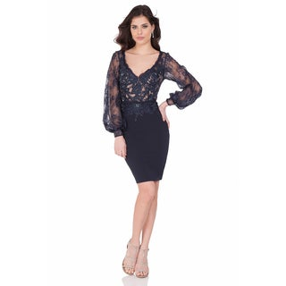 Terani Couture Blue V-neck Lace-over-nude Top Fitted Crepe Pencil-skirt Cocktail Dress