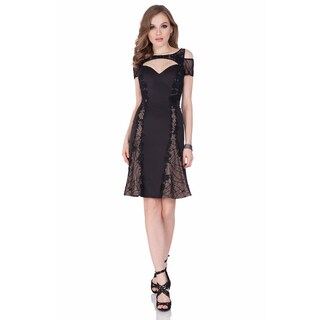 Terani Couture Women's Black Sweetheart Neckline Cocktail Crepe Dress