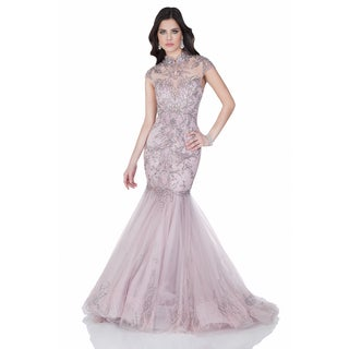 Elegant Mink-color Pageant Gown with Mandarin Collar and Cap Sleeves