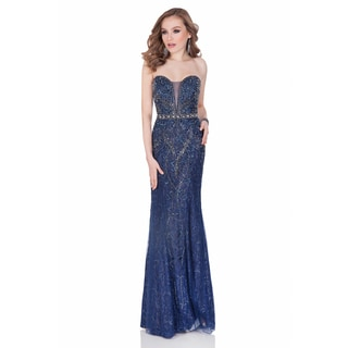 Terani Couture Beaded V Neck Illusion Long Pageant Gown