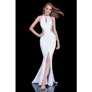 White Neoprene Sequin Embellishment Halter Gown
