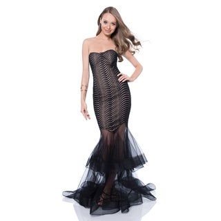 Terani Couture Women's Black Strapless Sweetheart Prom Gown