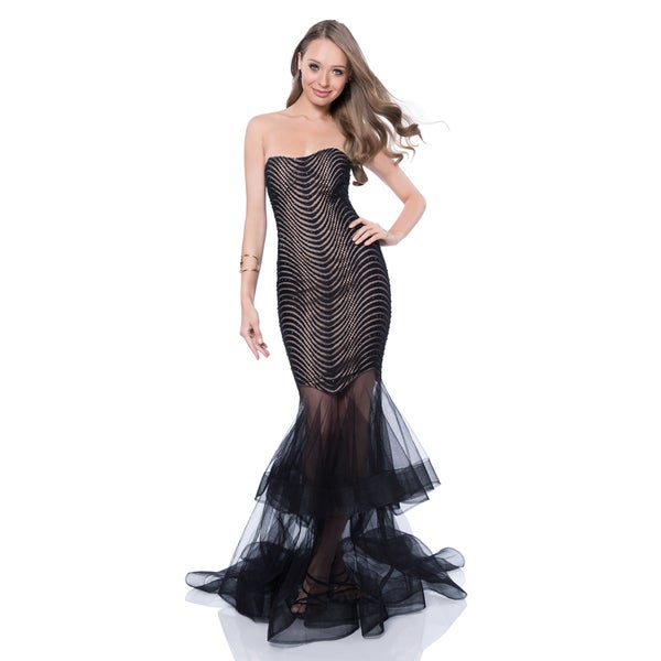 Shop Terani Couture Women\'s Black Strapless Sweetheart Prom Gown ...
