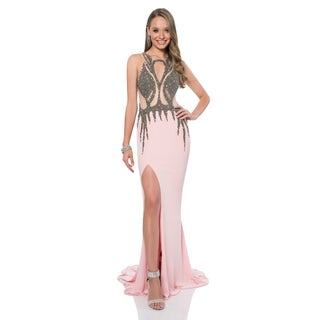 Terani Couture Pink Halter-top Beaded Sheath Long Prom Gown