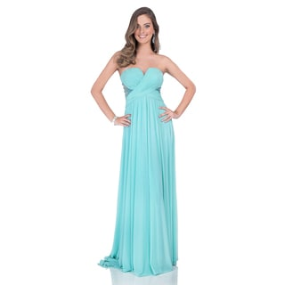 Strapless Mesh A-Line Prom Gown