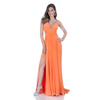 Terani Couture Orange V-neck Long Chiffon Beaded Accents Gown
