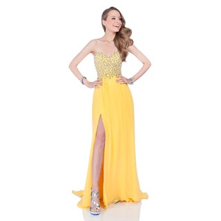 Yellow Beaded Sweetheart Top Long Prom Gown