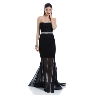 Terani Couture Strapless Trumpet Gown with Mesh Skirt