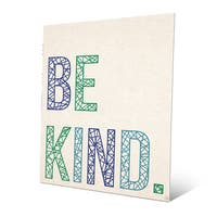 'Be Kind in Blue and Green Lines' Metal Wall Art