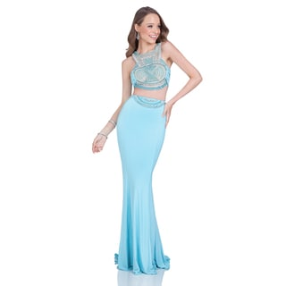 Terani Couture Women's Blue 2-piece Long Prom Gown