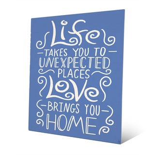'Love Brings You Home' Blue Wall Art Print on Metal