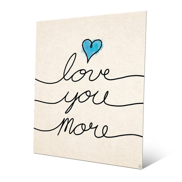 Shop \'Love You More Script Blue Heart\' Wall Art on Metal - On Sale ...