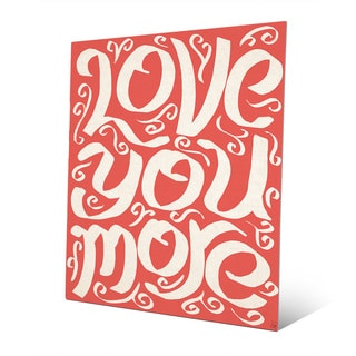 'Love You More on Red' Metal Wall Art Print