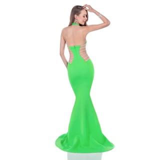 Terani Couture Halter Neoprene Long Prom Dress