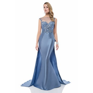 Terani Couture Blue Bead-embellished Mother of the Bride Gown