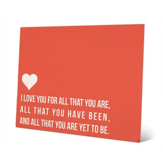'I Love All That You Are' Red Wall Art on Metal