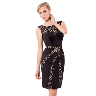 Fitted Cocktail Dress with Lace Overlay