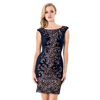 Terani Couture Women's Blue Fitted Lace Cocktail Dress